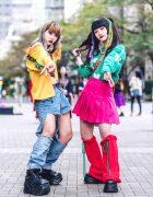 Tokyo Girls Colorful Street Styles w/ Rainbow Hair Falls, Peco Club, Kappa, Y-3, Oh Pearl, Remake Fashion & Demonia Platforms