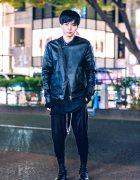 Japanese Actor in All Black Vintage Street Style w/ Rick Owens, Kujaku & Comuse