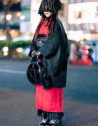Japanese Vintage Kimono Gothic Street Style w/ Veil Headdress, Lace Gloves, Platforms & Kill Star Bag