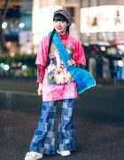 Retro Street Style in Harajuku w/ New York Joe Cat Shirt, Patchwork Flared Jeans, Vivienne Westwood, Palnart Poc & Fuzzy Bag