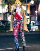Charles Jeffrey Tokyo Streetwear Style w/ Painted Pants, Cropped Hooded Jacket, Yellow Hair, Vintage Waistbag, Eytys & JBCG