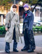 Tokyo Winter Menswear Street Styles w/ Purple Bangs, Faith Tokyo, Belted Trench Coat, Adidas, Dressedundressed & Nike