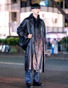 Japanese Minimalist Street Style w/ Blunt Bob, Long Leather Coat, N.Hoolywood, Comme des Garcons, Helmut Lang & Asics