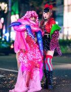 Conceptual Fashion & Edgy Avant-Garde Tokyo Street Style w/ Skull Mask, Zebra Jacket, Vinyl Skirt, Platform Boots & Neuron Nailz Tokyo
