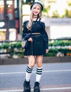 Chic Black Harajuku Girl Street Style w/ Crank Crop Top, WEGO Pleated Skirt, Demonia Platforms, (ME)Harajuku & WC Harajuku