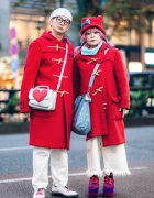Japanese Couple Street Style w/ Gloverall Toggle Coats, Pinnap, NRA Media, Dr. Martens, Kangol, Nile Perch & Nozomi Ishiguro