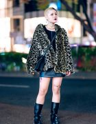 Harajuku Girl w/ Two-Tone Shaved Hairstyle, Moussy Leopard Jacket, Evris Leather Skirt, Getta Grip Boots & YSL Studded Bag