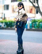 Modern Chic Tokyo Street Style w/ Anna Sui Leopard Jacket, UNIQLO Turtleneck Sweater, Dark Denim Pants, Dolls Kill Platforms & Versace Box Bag