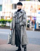 Monochrome Winter Street Style w/ Sugarhill Tokyo Plaid Coat, En Route Tweed Pants, Padrone Boots, Agnes B & Bao Bao Issey Miyake