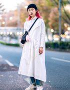Minimalist Street Style in Harajuku w/ White Coat, MISBHV Patchwork Jeans, Neighborhood & Reebok Sneakers