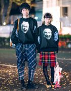 Vivienne Westwood Couple Street Styles w/ Face Sweaters, Plaid, Rocking Horse Shoes & George Cox Creepers