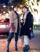 Japanese Winter Street Styles w/ Leopard Coat, Plaid Shirt, San To Nibun No Ichi, Oh Pearl, Dolls Kill & Leather Harness