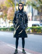 Tokyo Street Style w/ Jean Paul Gaultier Vinyl Trench, Pointy Glasses & Batman Sneakers