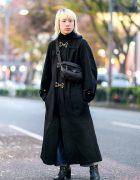 Tokyo Winter Street Style w/ Blonde Hair, Beauty:Beast Maxi Coat, Two-Tone Jeans, Heeled Boots & Prada Bag