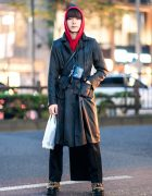 Harajuku Remake Street Style w/ Belted Coat, Red Hoodie, Back Skirt Panel, Pokemon Neck Wallet & Yosuke Leopard Print Shoes
