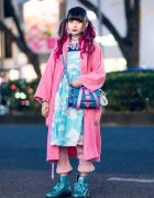 Harajuku Kawaii Street Style w/ Twin Tails, Yves Saint Laurent Robe, Cloud Print Dress, Teenstyle, Glem, Candy Stripper Bow Bag & Dr. Martens Glitter Boots