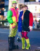 Colorful Japanese Duo Street Styles w/ Kinji Neon Jacket, Kobinai Furry Coat, Fila, Nuezzz, Office Kiko & Demonia Boots