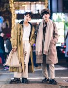 Tokyo Mens Winter Street Styles w/ Acne Studios, Urban Research Houndstooth Coat, Burberry, Ikumi & Dr. Martens