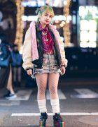 Harajuku Girl Streetwear Style w/ Green Braids, Pinnap Furry Vest, Kinji Distressed Denim Skirt, 7% More Pink, Fishnets & YRU Platforms