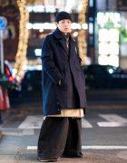 Mens Japanese Street Style w/ Balenciaga Super Wide Leg Jeans, FAD Three, Raf Simons Bag & Nike