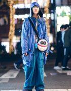 All Blue Harajuku Streetwear w/ Blue Hair, W&LT Puk-Puk Face Bag, Vintage Jacket, King Size Pants & Reebok Sneakers