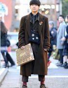 Harajuku Street Style w/ Brown Hues, Christopher Nemeth Bag, Houndstooth Shoes & Badges