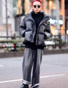 Japanese Fashion Designer in Harajuku w/ Red Hair, Acne Studios Turtleneck Sweater, John Lawrence Sullivan Cuffed Pants, Nike & Ray-Ban