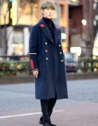 Tokyo Menswear Style w/ Military Coat, Turtleneck, Skinny Jeans & Y-Strap Suede Boots