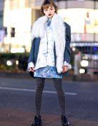 Harajuku Vintage Fashion w/ Furry Scarf, Face Jewels, Printed Tights, Moussy, Yosuke &a Tokyo Human Experiments