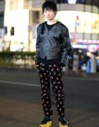 Vivienne Westwood Street Fashion in Harajuku w/ Black Leather Jacket, Ribbed Sweater, Floral Print Pants & Rocking Horse Shoes