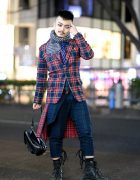Harajuku Plaid Street Style w/ Printed Scarf, Striped Necktie, Colored Contacts, MilkBoy, Agnes B. & Dr. Martens