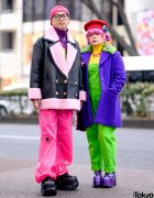 Colorful Harajuku Couple Winter Street Styles w/ Moschino, Kenzo x H&M, Pinnap, Punk Cake, ESQAPE & Demonia Platforms