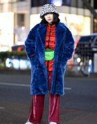 Tokyo Winter Street Style w/ Jouetie Coat, Another Edition Velvet Pants, Duke Energy Waist Bag & Puma Sneakers