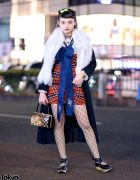 Harajuku Streetwear Style w/ Snidel Coat & Plaid Dress, Fishnets, Vivienne Westwood Rocking Horse Shoes & Kimono Purse