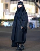 All Black Minimalist Japanese Street Style w/ Yohji Yamamoto Y's Oversized Coat, Comme des Garcons, Heeled Boots & Tote