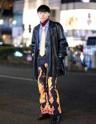 Harajuku Street Style w/ Leather Jacket, Striped Layers, Kaka Vaka Flame Pants, Lace-Up Boots & Knuckle Rings