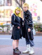 Tokyo Duo's Streetwear Styles w/ Yellow Hair, Frayed Coat, Denim Dress, Strap Boots, Belted Coat, Silver Boots & Fendi Crossbody Bag