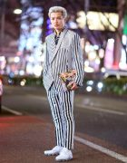 Monochrome Japanese Street Style w/ Haider Ackermann Striped Suit, Versace Graphic Shirt, Nike Sneakers & Givenchy Clutch
