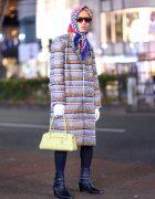 Harajuku Guy's Streetwear Style w/ YSL Headscarf, Vaquera NYC Coat, Sunglasses, White Gloves & Heeled Boots