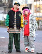Tokyo Cross Colours Streetwear Styles w/ Pink Hair, Vintage Furry Coat, Ewing, Blacklist, Kangol & Adidas Sneakers