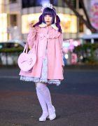 Kawaii Japanese Street Style in Harajuku w/ Twin Purple Tails, Angelic Pretty Ribbon Coat, Jumper Dress, Yumetenbou Baby Doll Shoes & Heart Bag