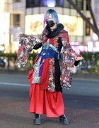Qutie Frash Kimono Style in Harajuku w/ Pink-And-Blue Hair, Face Mask, Multi-Print Kimono, Corset Belt, Wide Leg Pants & Platform Boots