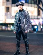 Christopher Nemeth Harajuku Street Style w/ Rope Print Jacket, Beret & Vintage Patent Pants