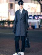 Monochrome Menswear in Harajuku w/ Comme des Garcons Pinstripe Blazer, Dressedundressed, Alexander McQueen, Maison Margiela Gloves, Cheap Monday, Nike & Neil Barrett Furry Satchel