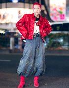 Harajuku Street Style w/ Red Hair, Japanese Nikka Pokka Pants, Contena Store Jacket, Hello Kitty Sweater & Red Boots