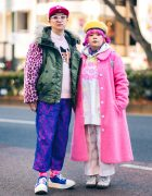Tokyo Couple Street Style w/ Pink Braids, Smiley Face Earrings, Nincompoop Capacity Lace Overlay Pants, Candy Stripper Furry Coat, Hoodie Sweater, JanSport Backpack, Tokyo Bopper Sneakers & Dr Martens Boots
