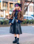 Tokyo Leopard Print Street Style w/ Faux Fur Hat, Purple & Blue Hair, Oh Pearl, Yosuke & Vintage Fashion