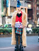 Vintage Fashion Buyer in Harajuku w/ Faux Fur Maxi Coat, Vivienne Westwood Safety Pin Piercing, Bow Bag & Pleaser