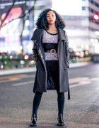 Japanese Dancer in Monochrome Tokyo Street Style w/ Bershka Coat, Hoop Earrings, H&M Belt & Randa Leather Boots