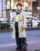 Remake Streetwear in Harajuku w/ Shaggy Bob, Trench Coat, Kidill Sweater, Tripp NYC Graphic Pants, New Rock, Dilivee & Tokyo Human Experiments